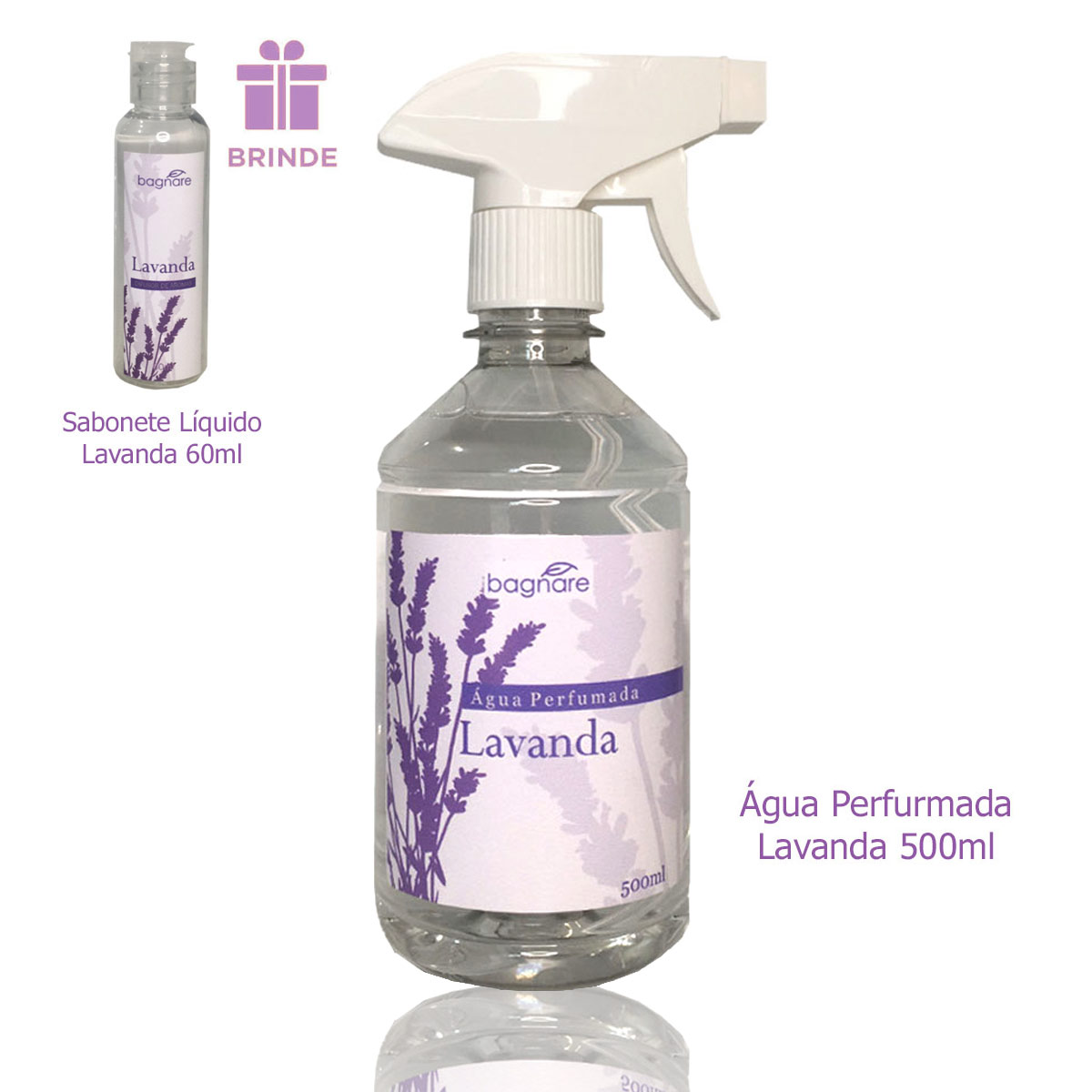 Água Perfumada Para Tecidos Lavanda 500ml + Brinde Sabonete Líquido Lavanda