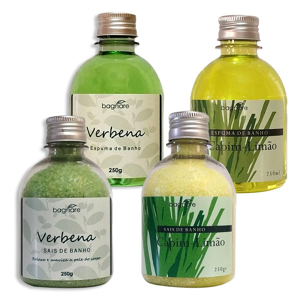 Sais Para Banho Relaxante e Espuma Para Banheira Capim Limão e Verbena