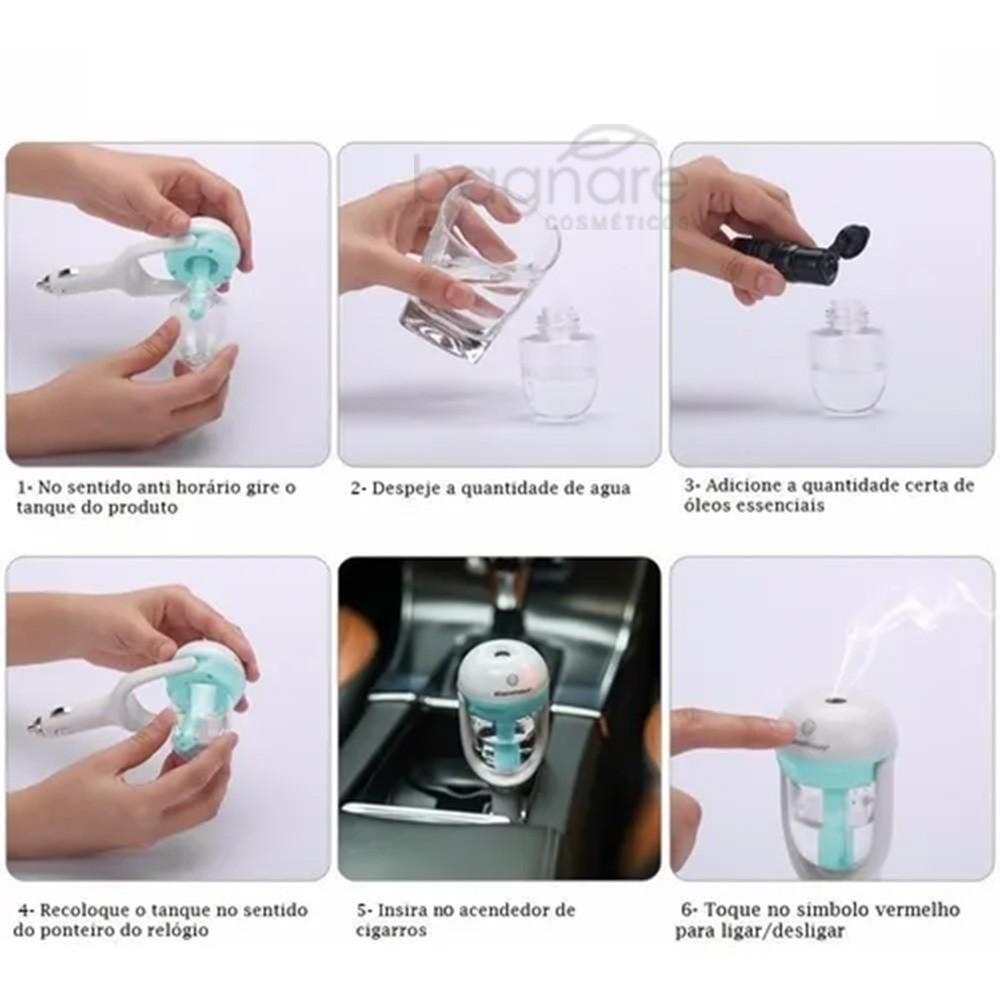Umidificador Aromatizador Para Carros Ultrassônico Perfuma e Umedece Brinde 3 essências 5ml