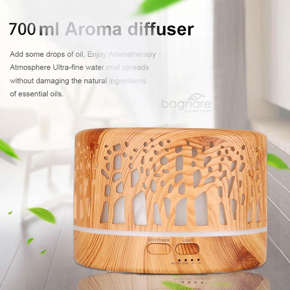 Umidificador de Ar Aromatizador Silencioso Ultrassônico 700ml com 1 Óleo Aromatizador Lavanda Concentrado