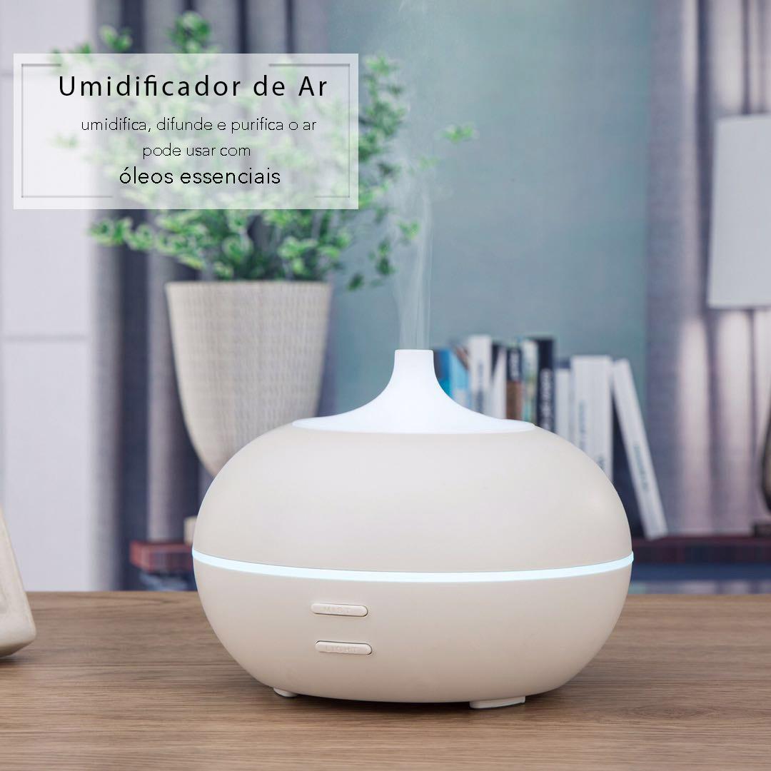 Umidificador de Ar Difusor e Aromatizador Ultrassônico com 1 Óleo Aromatizador Bamboo 10 ml