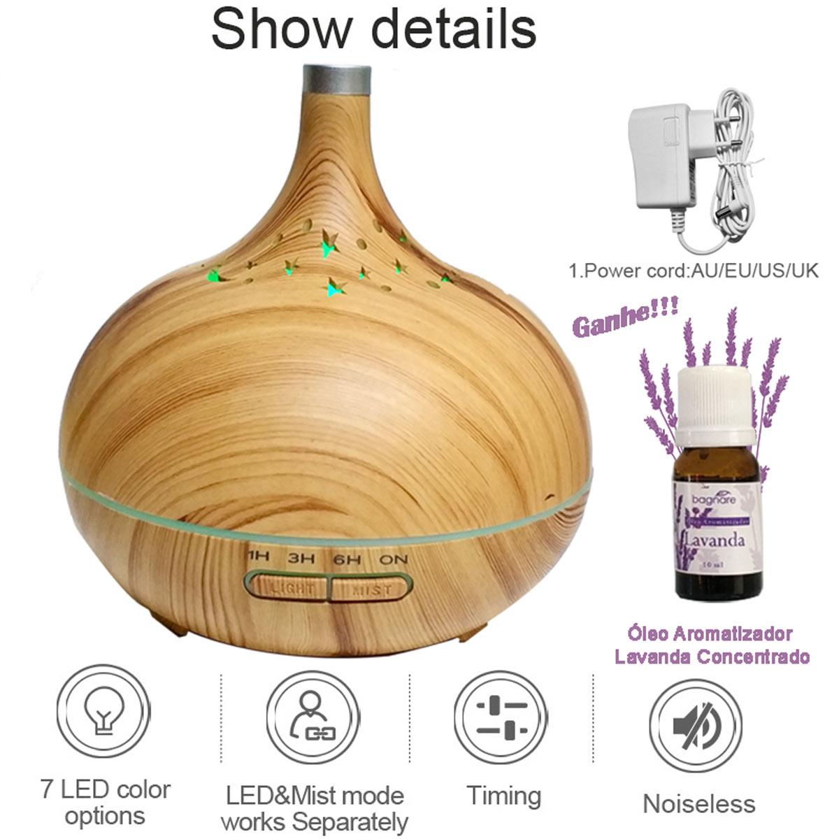 Umidificador Difusor Ar Aromatizador Ultrassônico com Óleo Aromatizador Lavanda 10 ml