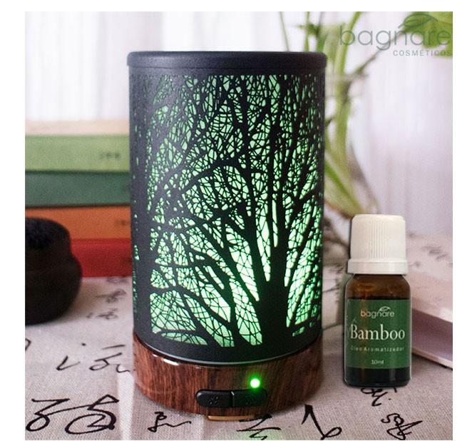 Umidificador Difusor Aromatizador Tree Ultrassônico led com Óleo Aromatizador Bamboo 10 ml