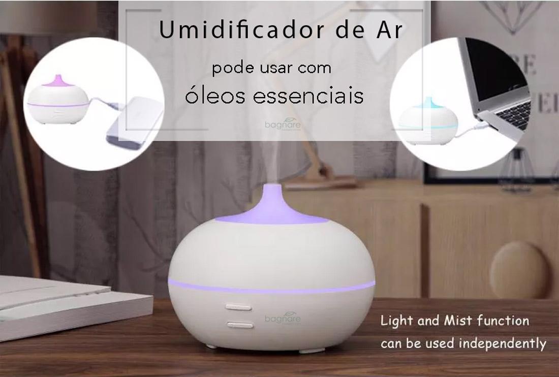 Umidificador e Aromatizador de Ar Silencioso USB 100ml com 1 Óleo Aromatizador Chá Branco