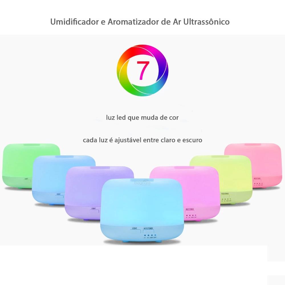 Umidificador e Difusor de Ar para Quarto de Bebe Ultrassônico Luz Led e Óleo Aromatizador Lavanda