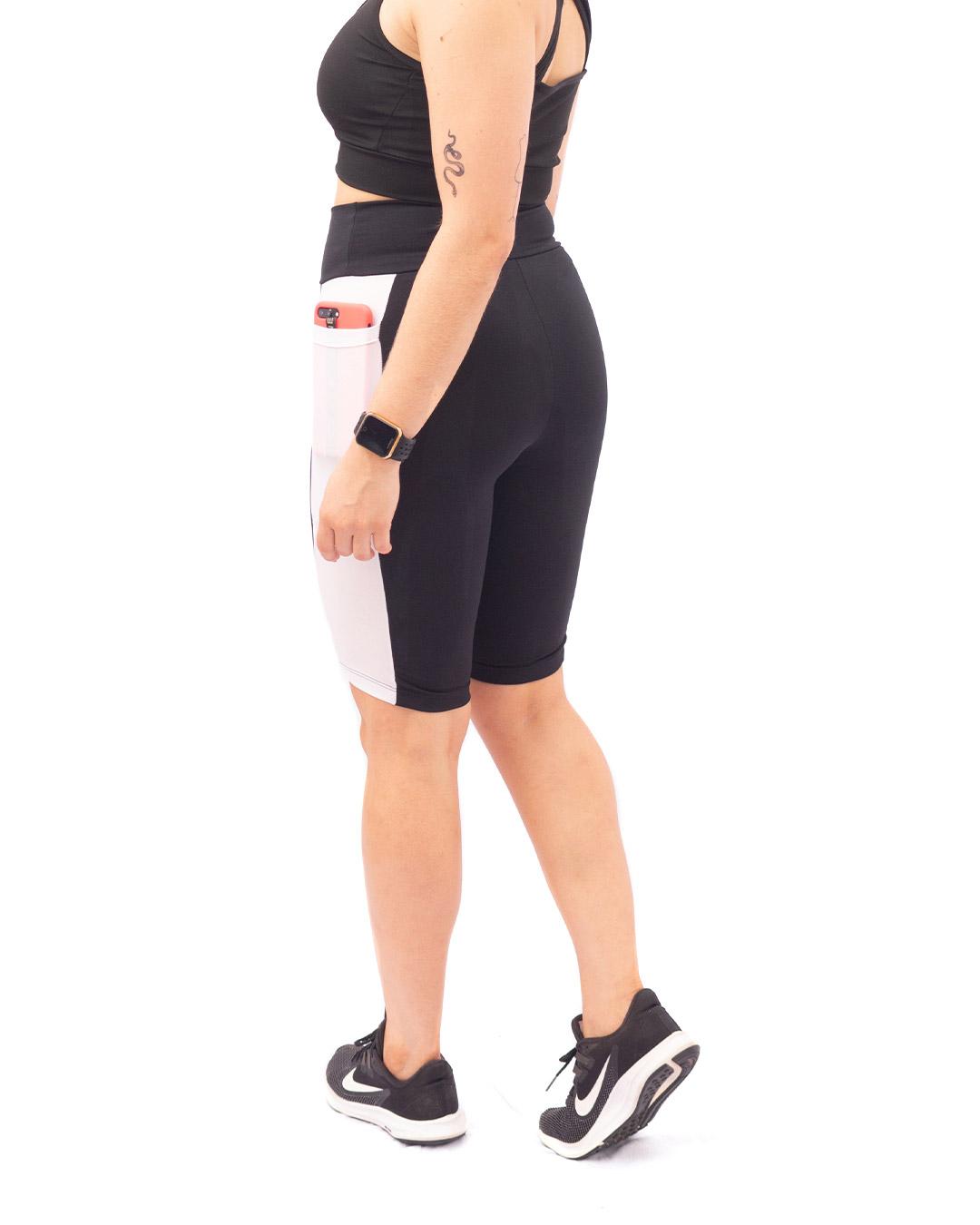 Bermuda Ciclista Preta Com Detalhe Lateral Em Tule Branco - Movimente-se