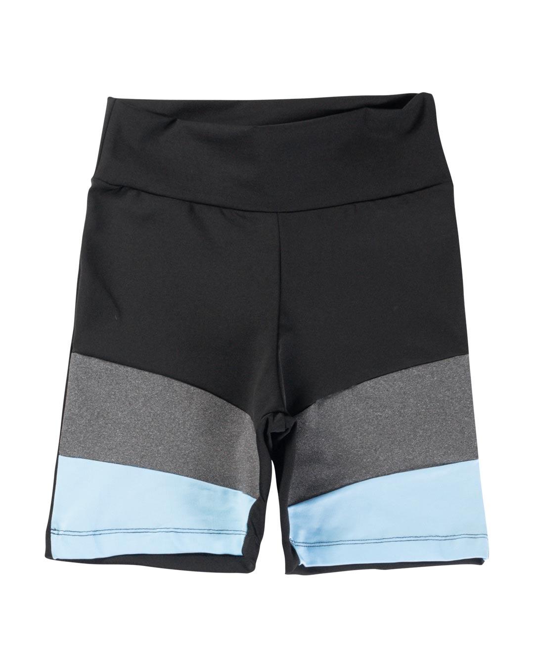 Bermuda Fitness Preta Com Barra Frontal Azul e Mescla - Movimente-se