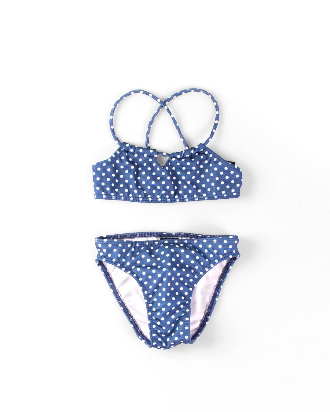 Biquini Infantil Bolinhas Azul - VNT