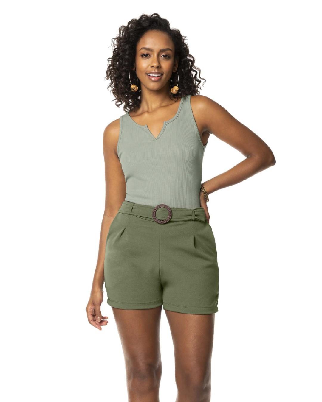 Blusa Feminina Canelada com Decote em V - Lecimar