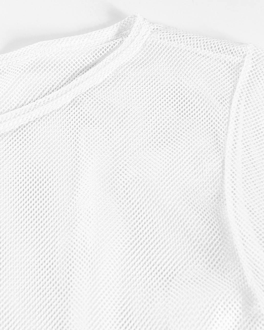 Blusa Fitness Arrastão Branco - Movimente-se