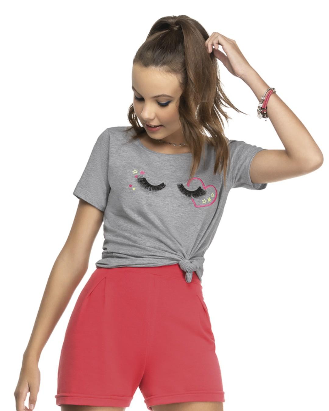 Blusa Juvenil com Estampa de Cílios - Cereja Rosa