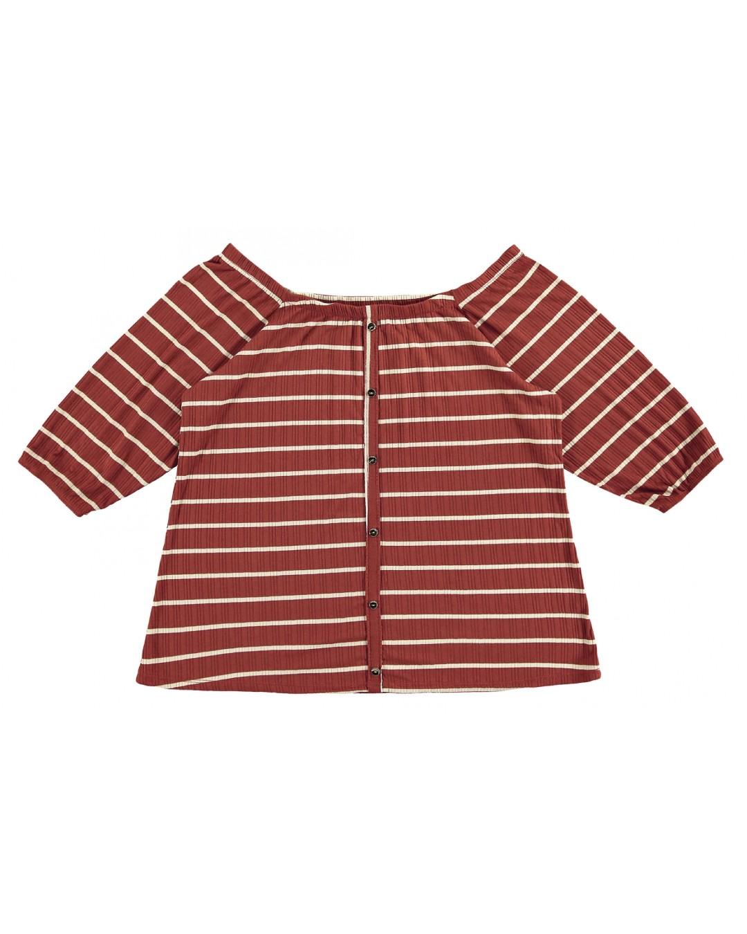 Blusa Plus Size Feminina Listrada c/ Botão - Lecimar