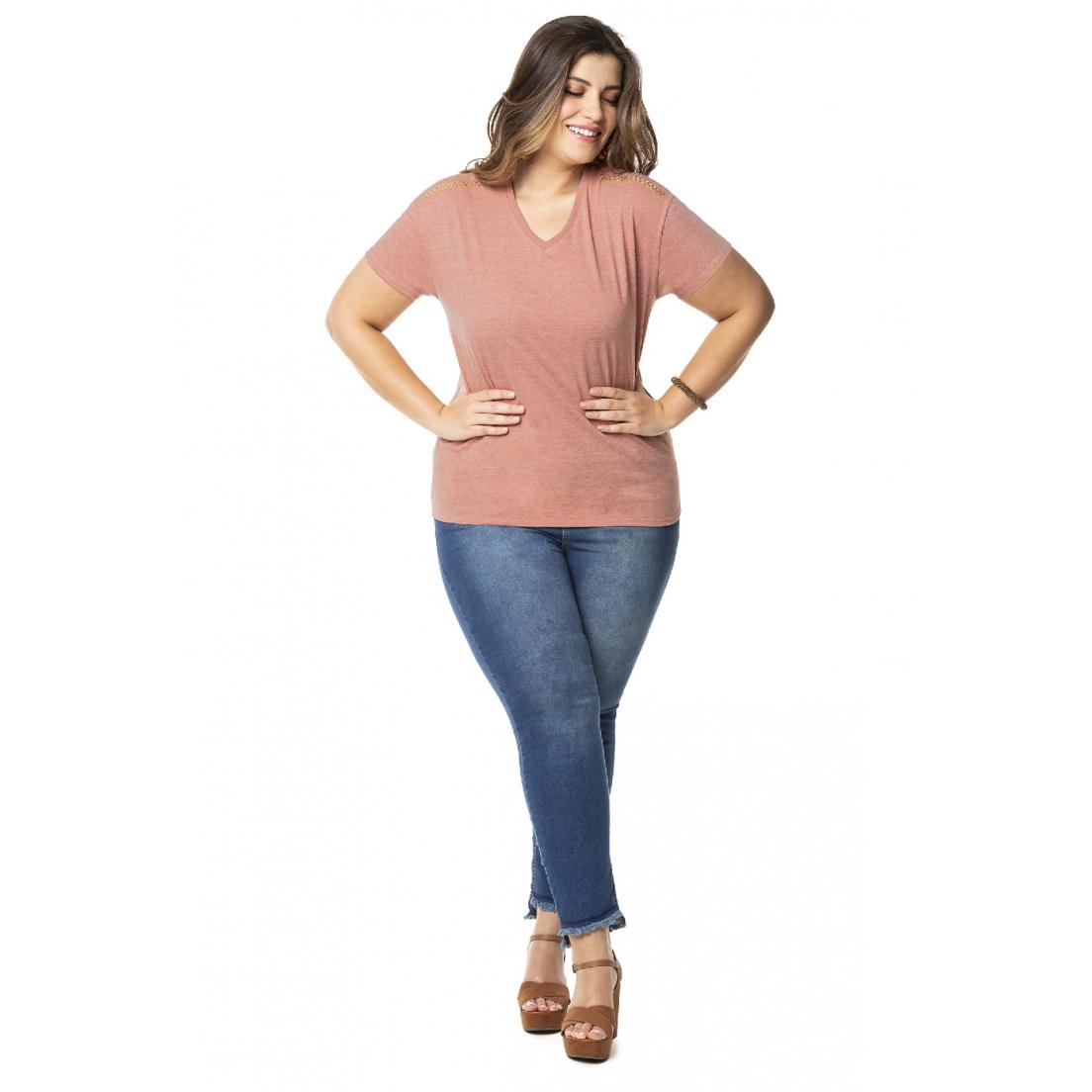 Blusa Plus Size Feminina Strass - Lecimar