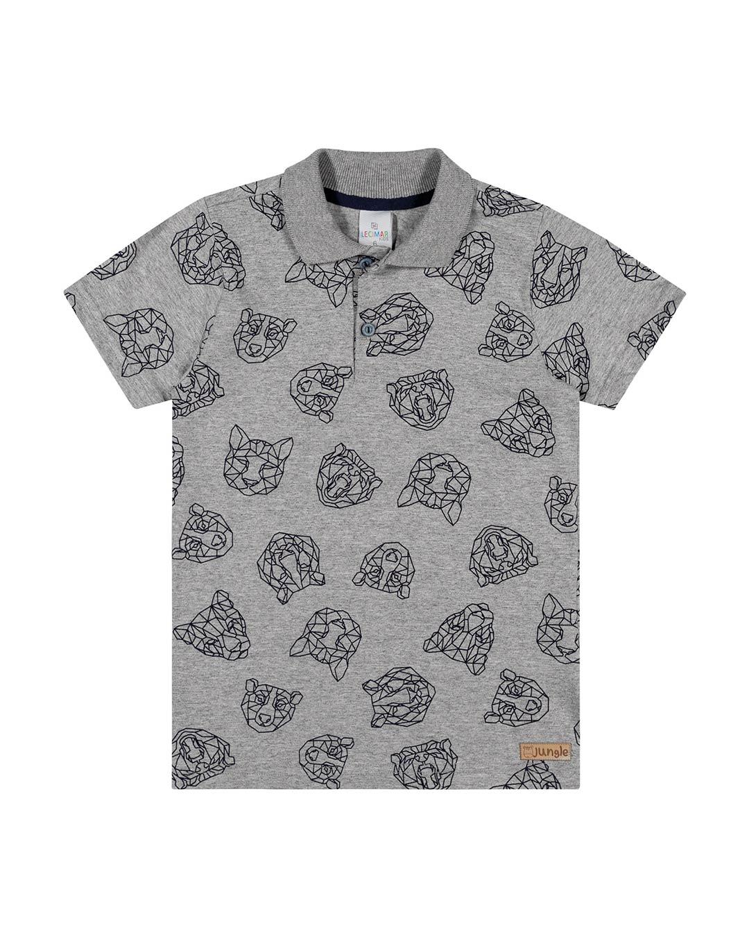 Camisa Polo Infantil Tigre Cinza - Lecimar