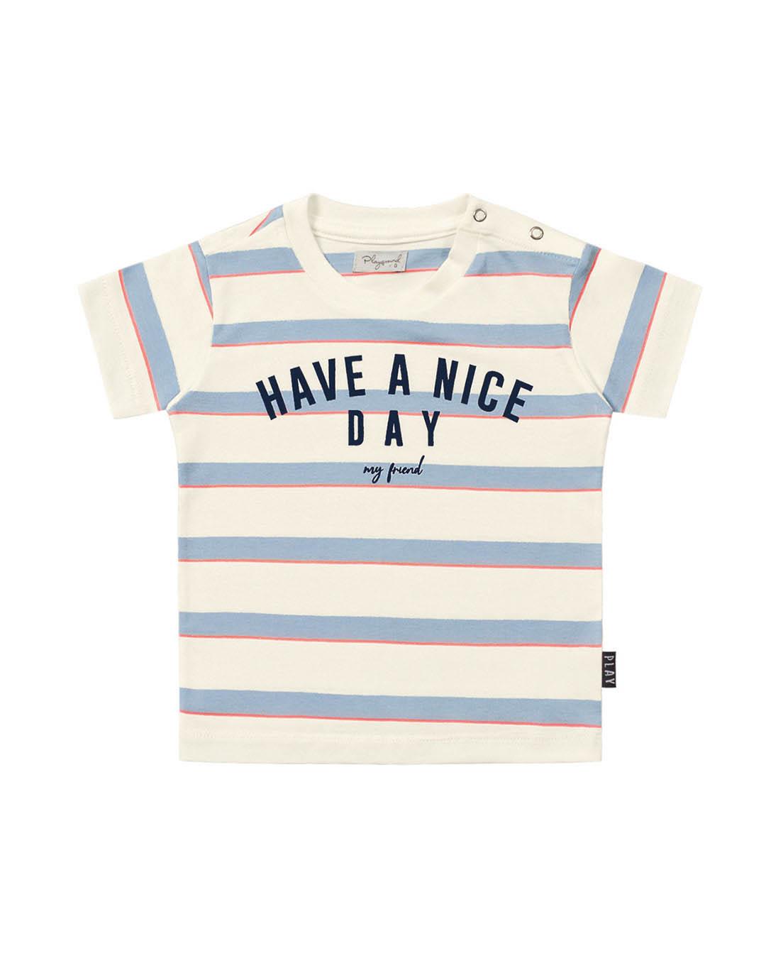 Camiseta Bebê Off White com Listras - Playground