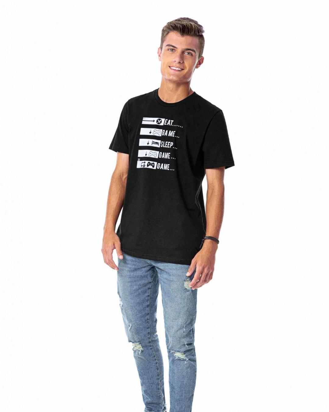Camiseta Juvenil Eat Game Sleep - Rezzato