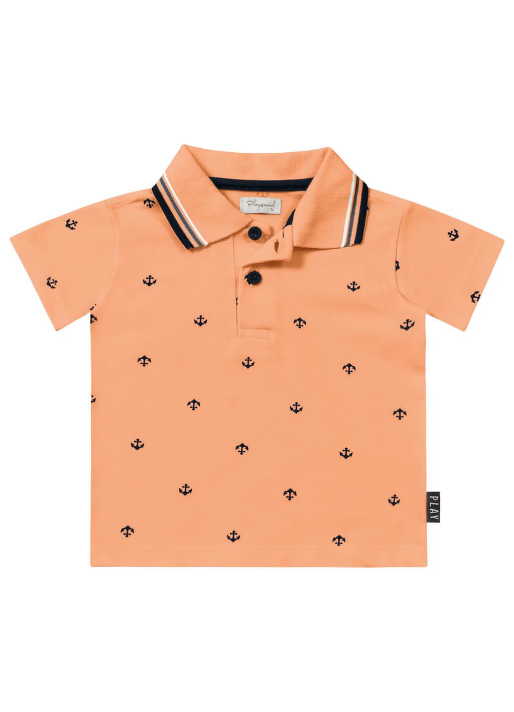 Camiseta Polo Bebê Ancoras Laranja - Playground