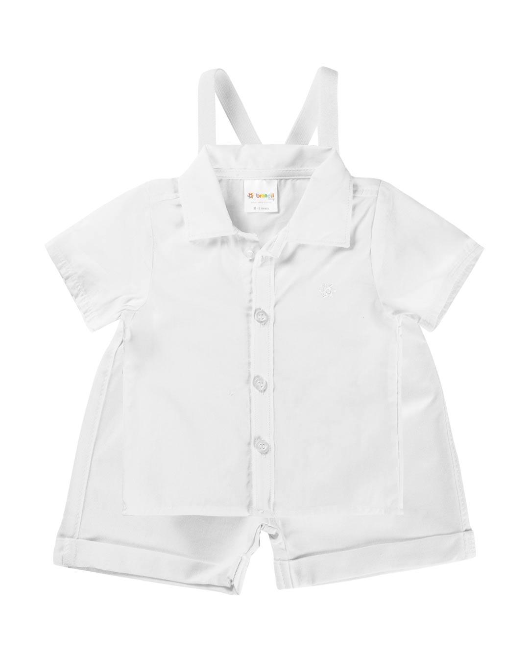 Conjunto Bebê Com Suspensório Branco - Brandili