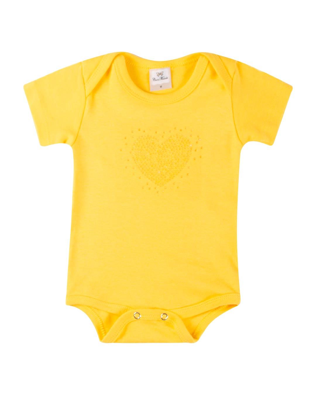Conjunto Body Coração Strass Amarelo - Cara Metade