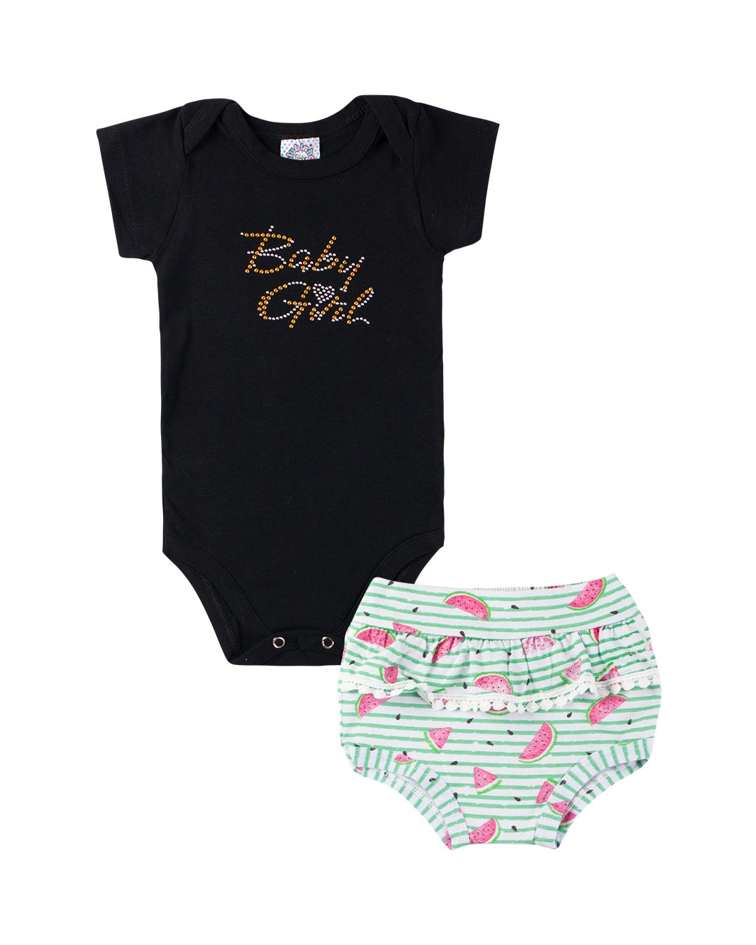 Conjunto Body E Cobre Fralda Baby Girl - Clubinho
