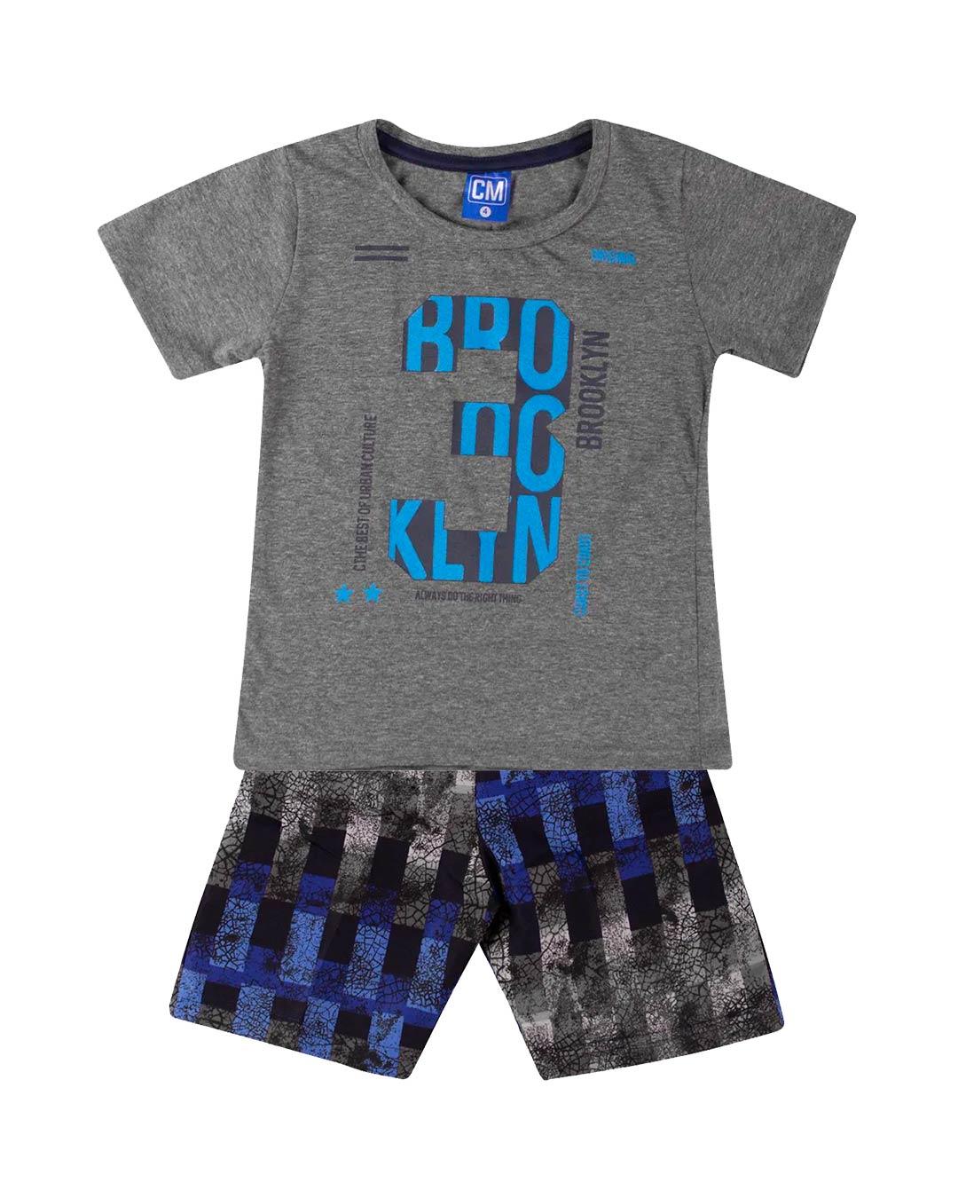 Conjunto Infantil 3 Brooklyn Cinza Escuro - Cara Metade