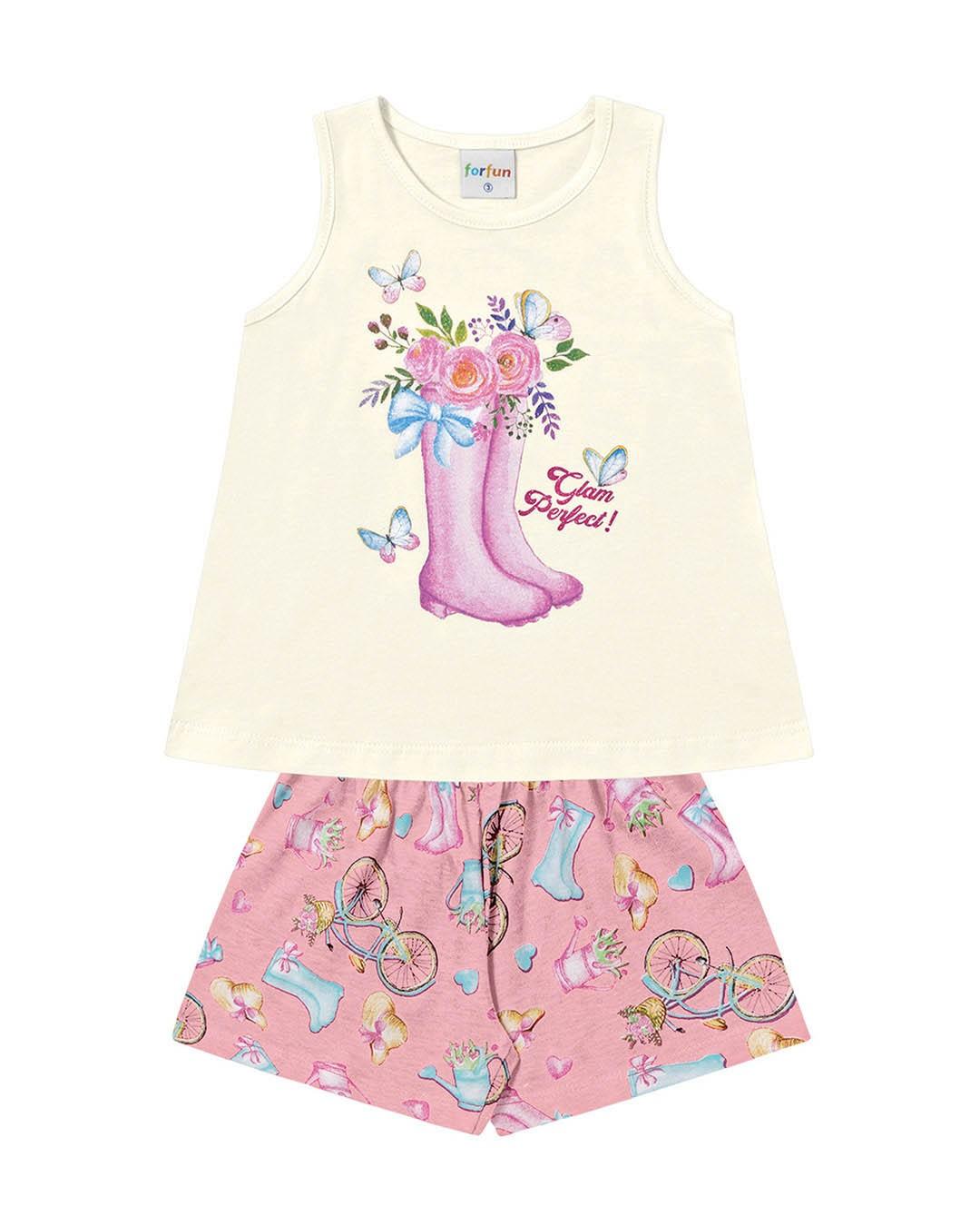 Conjunto Infantil Botas e Rosas Off White - For Fun