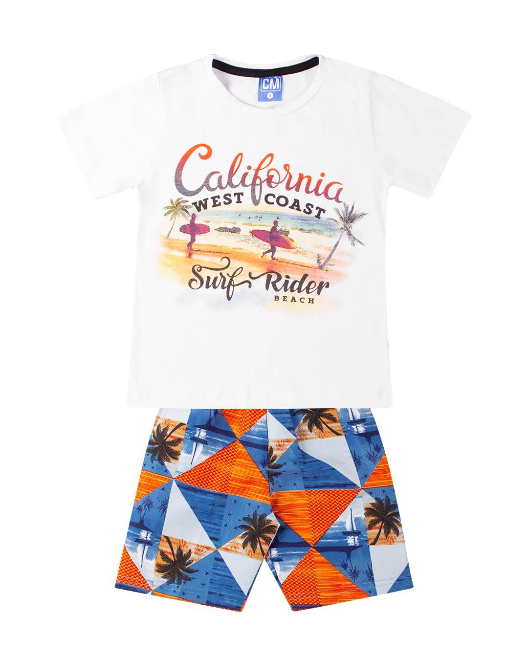 Conjunto Infantil Califórnia Surf Rider Branco - Cara Metade