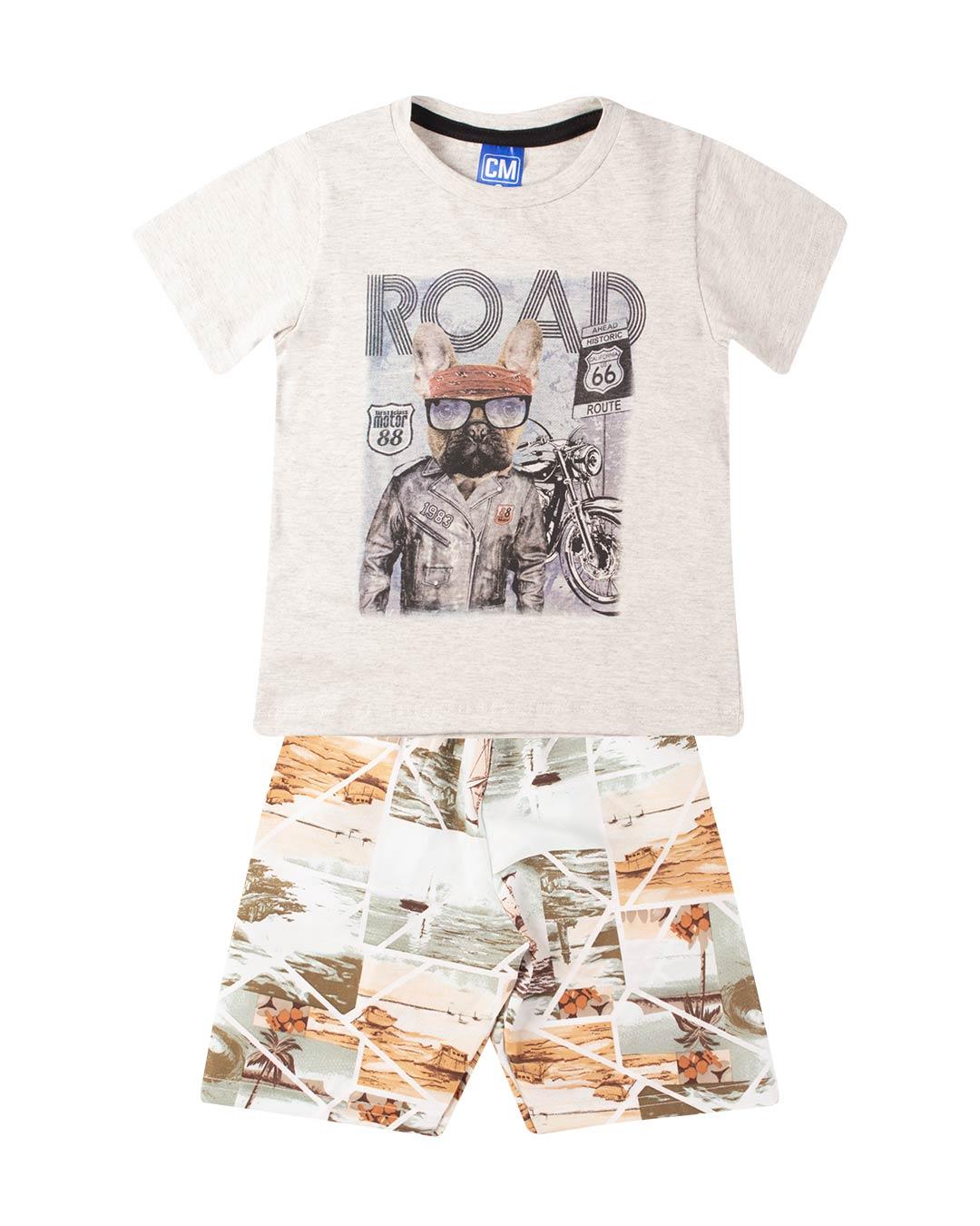 Conjunto Infantil Dog Road Cinza - Cara Metade