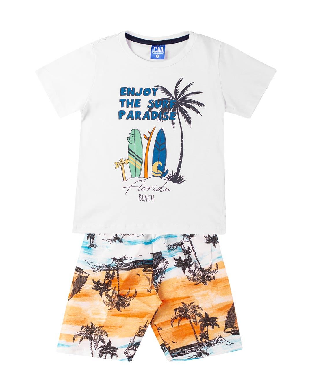Conjunto Infantil Enjoy the Surf Branco - Cara Metade
