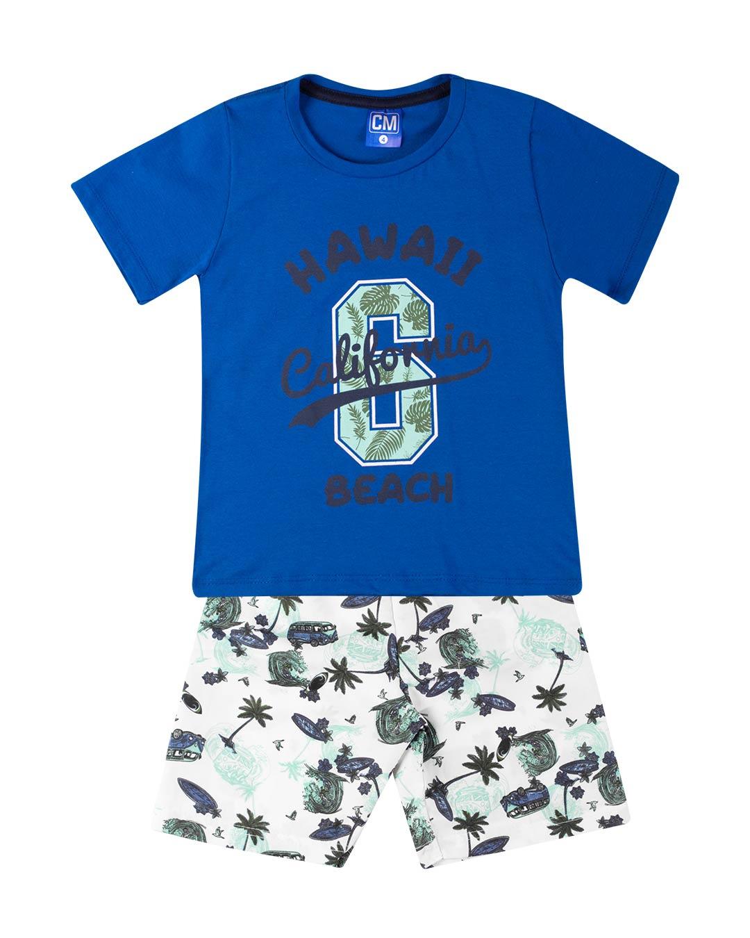 Conjunto Infantil Hawaii Beach Azul - Cara Metade