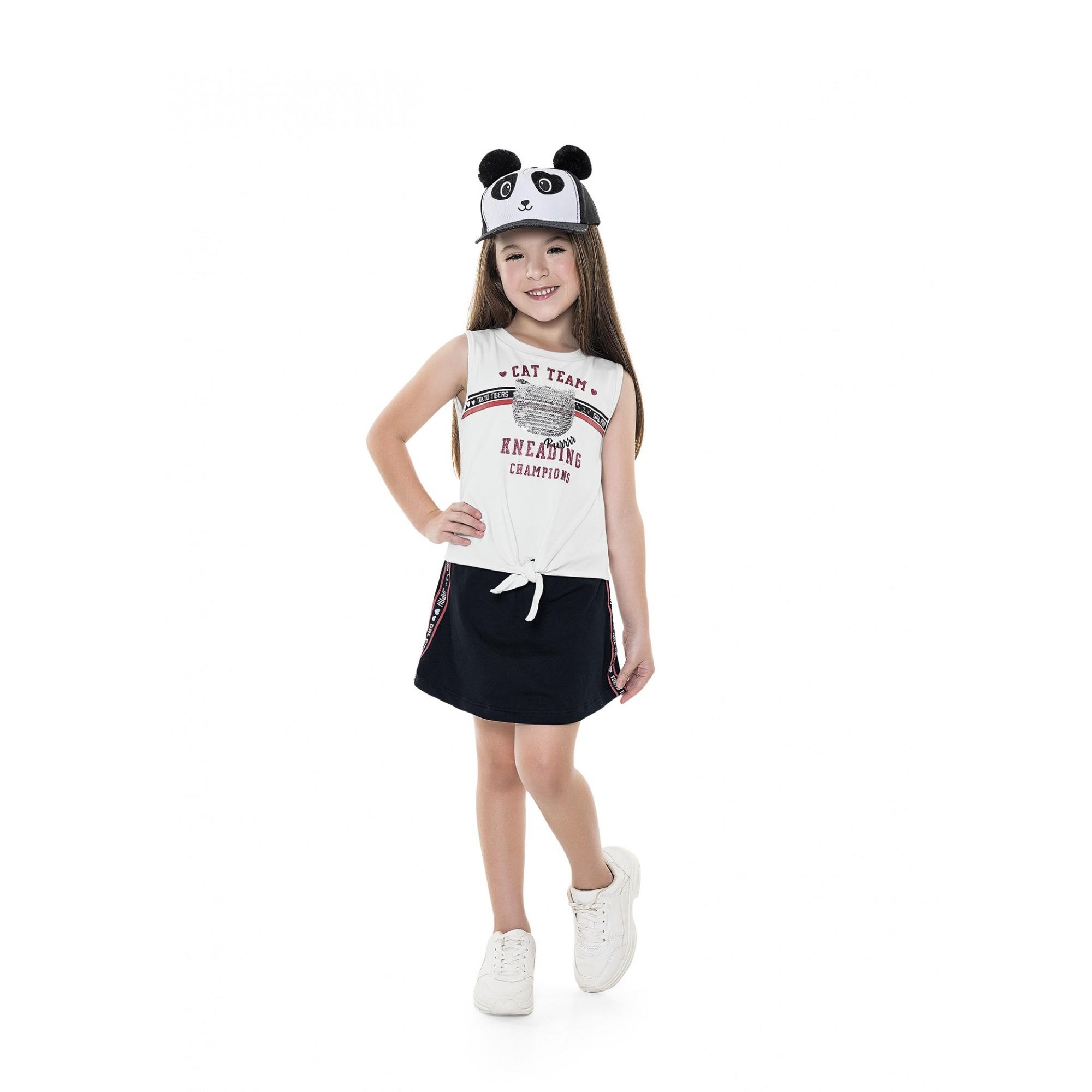 Conjunto Bebê/Infantil Regata Cat Love You Branco - Fakini Kids