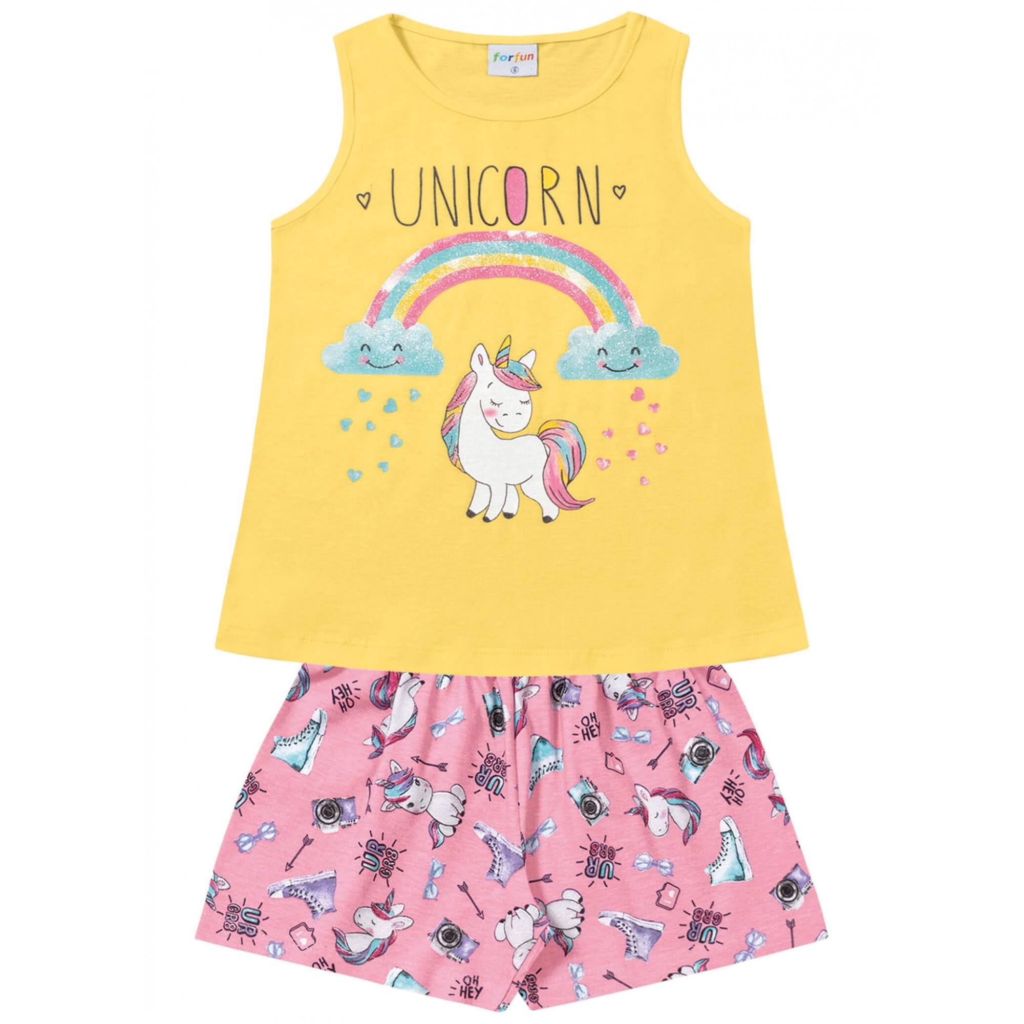 Conjunto Infantil Regata Unicorn Amarelo - For Fun