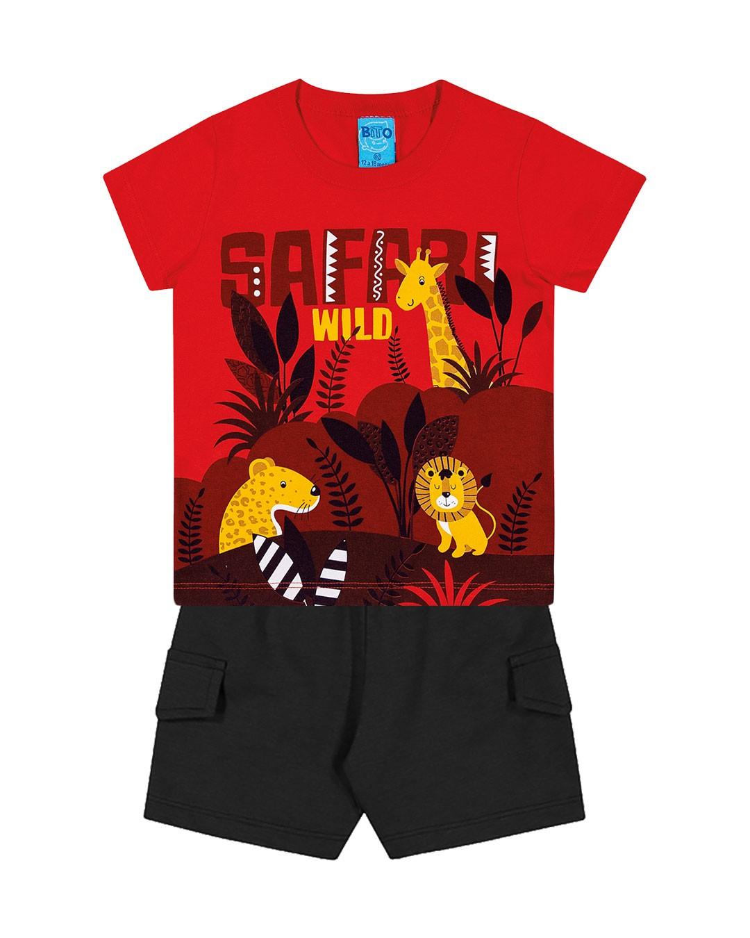 Conjunto Infantil Safari Wild Vermelho - Lecimar