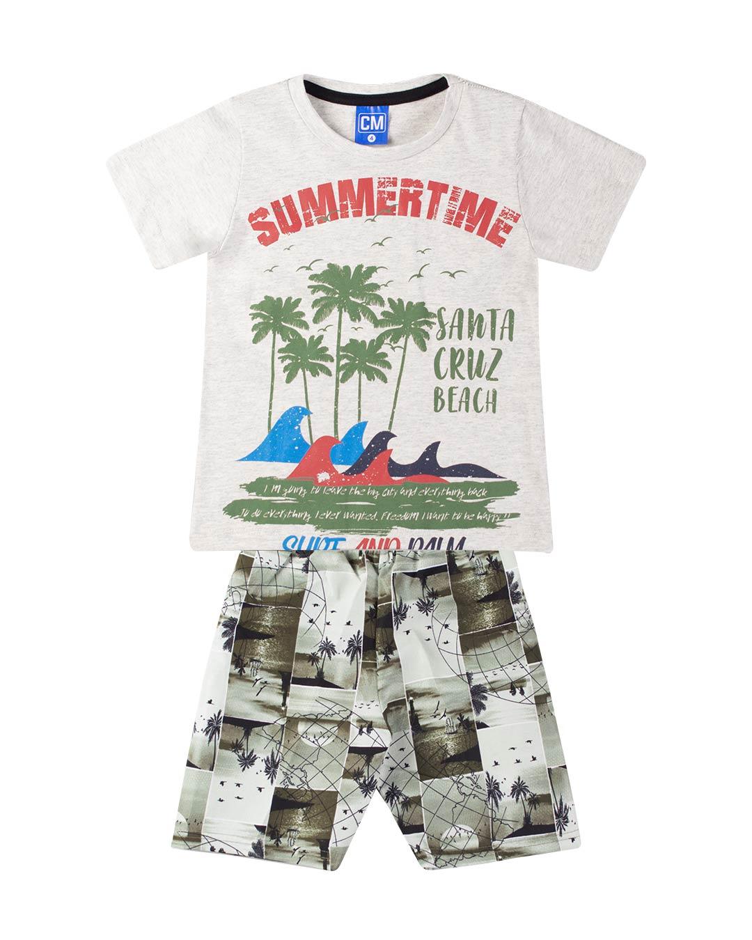 Conjunto Infantil Summer Time Cinza - Cara Metade