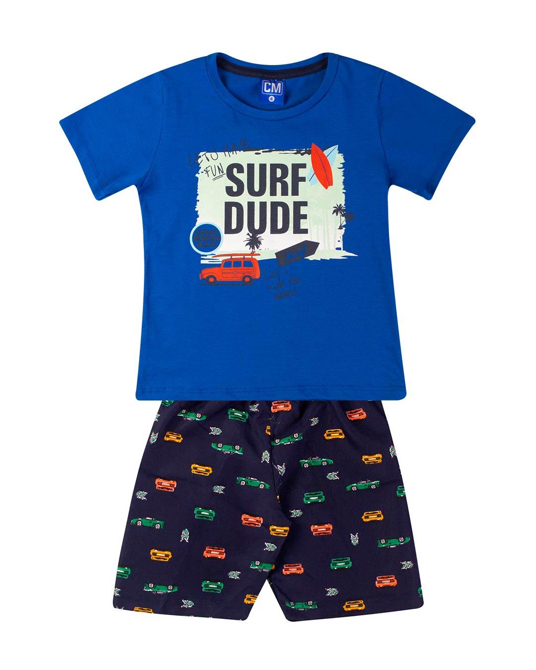 Conjunto Infantil Surf Dude Azul - Cara Metade