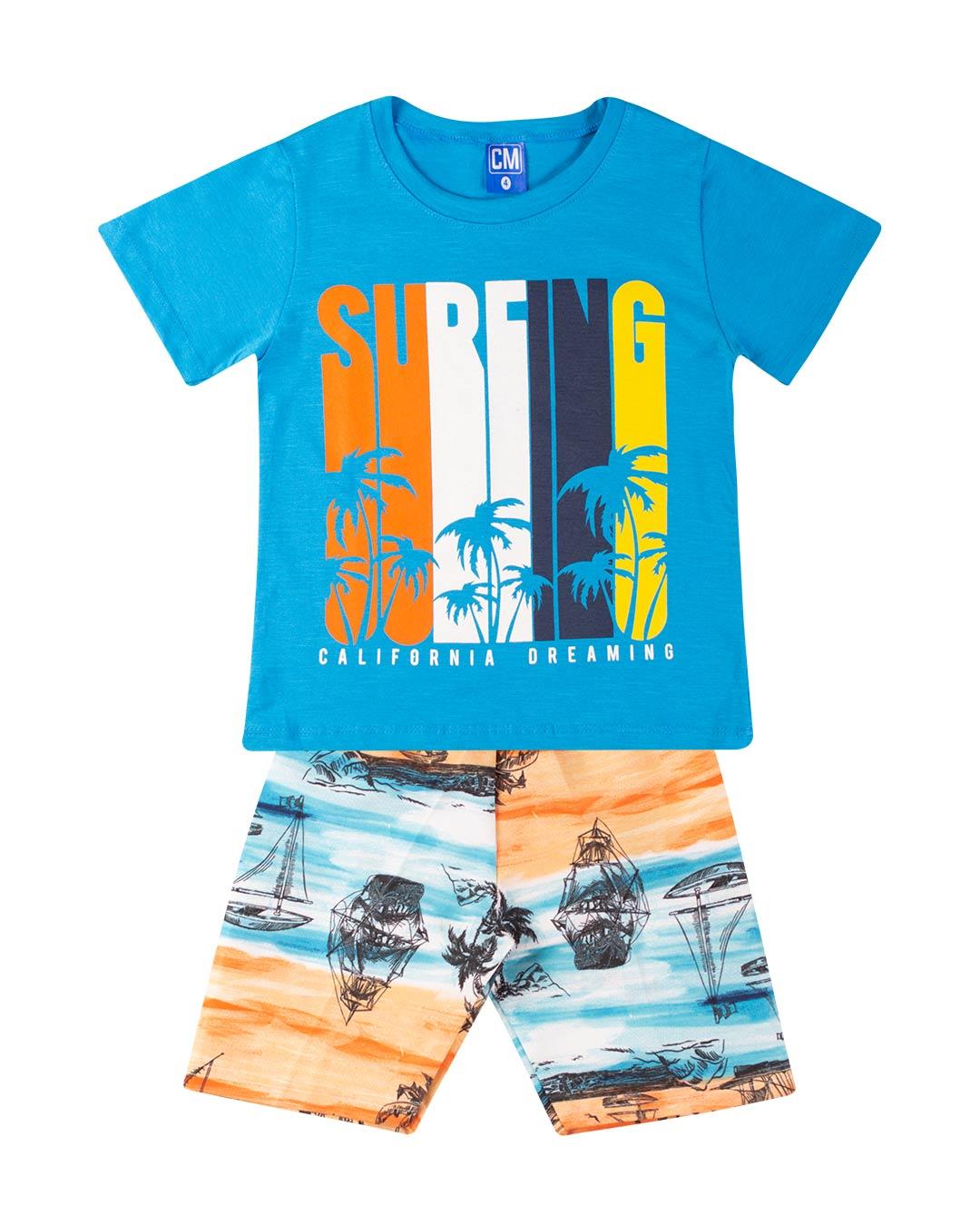 Conjunto Infantil Surfing Azul - Cara Metade