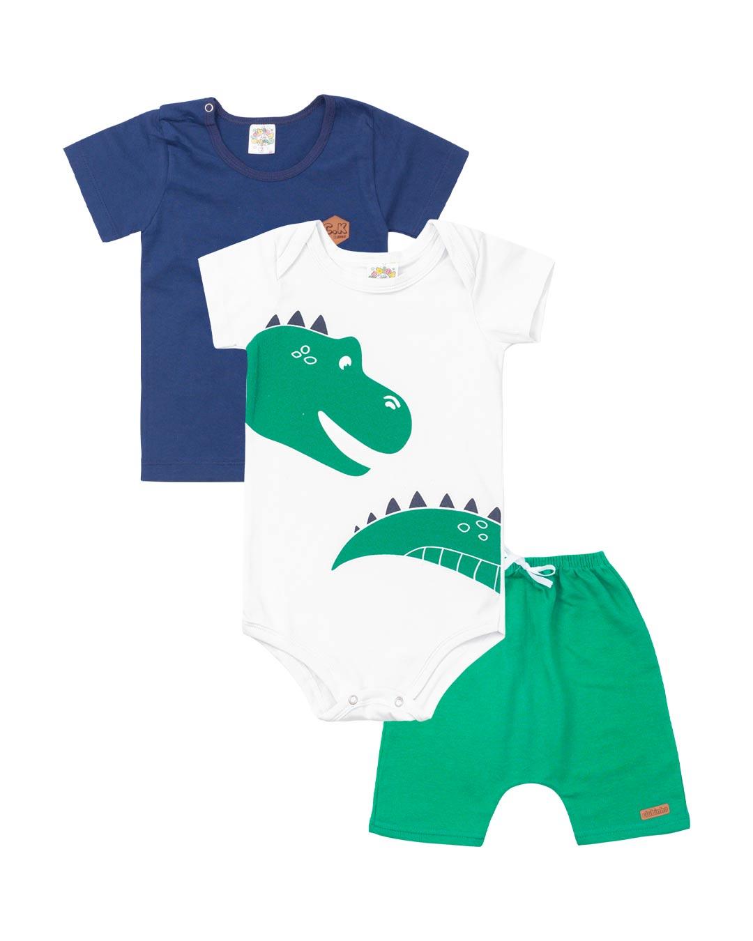 Kit 3 Peças Bebe e Infantil Dinossauro - Clubinho