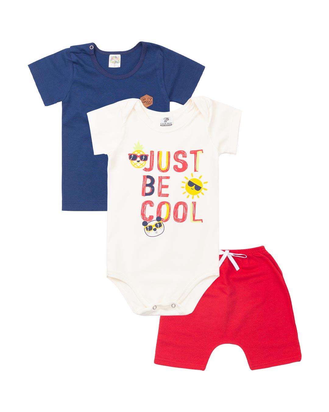 Kit 3 Peças Bebê e Infantil Body Just Be Cool - Clubinho