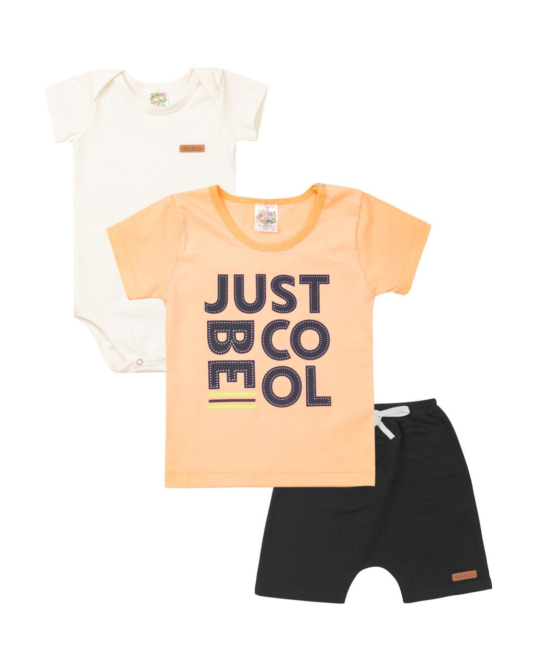 Kit 3 Peças Bebê e Infantil Blusa Just Be Cool - Clubinho