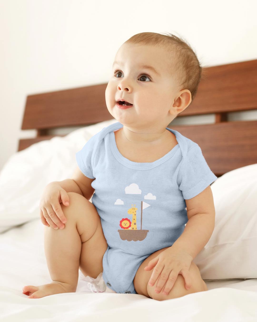 Kit Body 3 Peças com Bermuda Barquinho Azul - Sorriso Kids