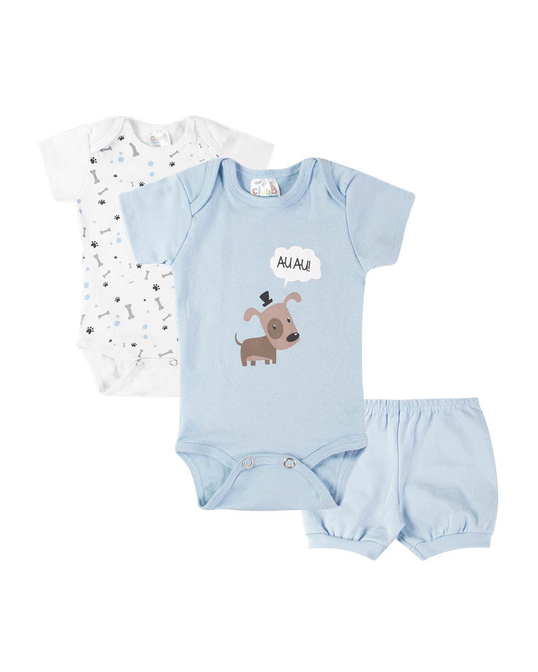 Kit Body 3 Peças com Bermuda Cachorrinho Azul - Sorriso Kids