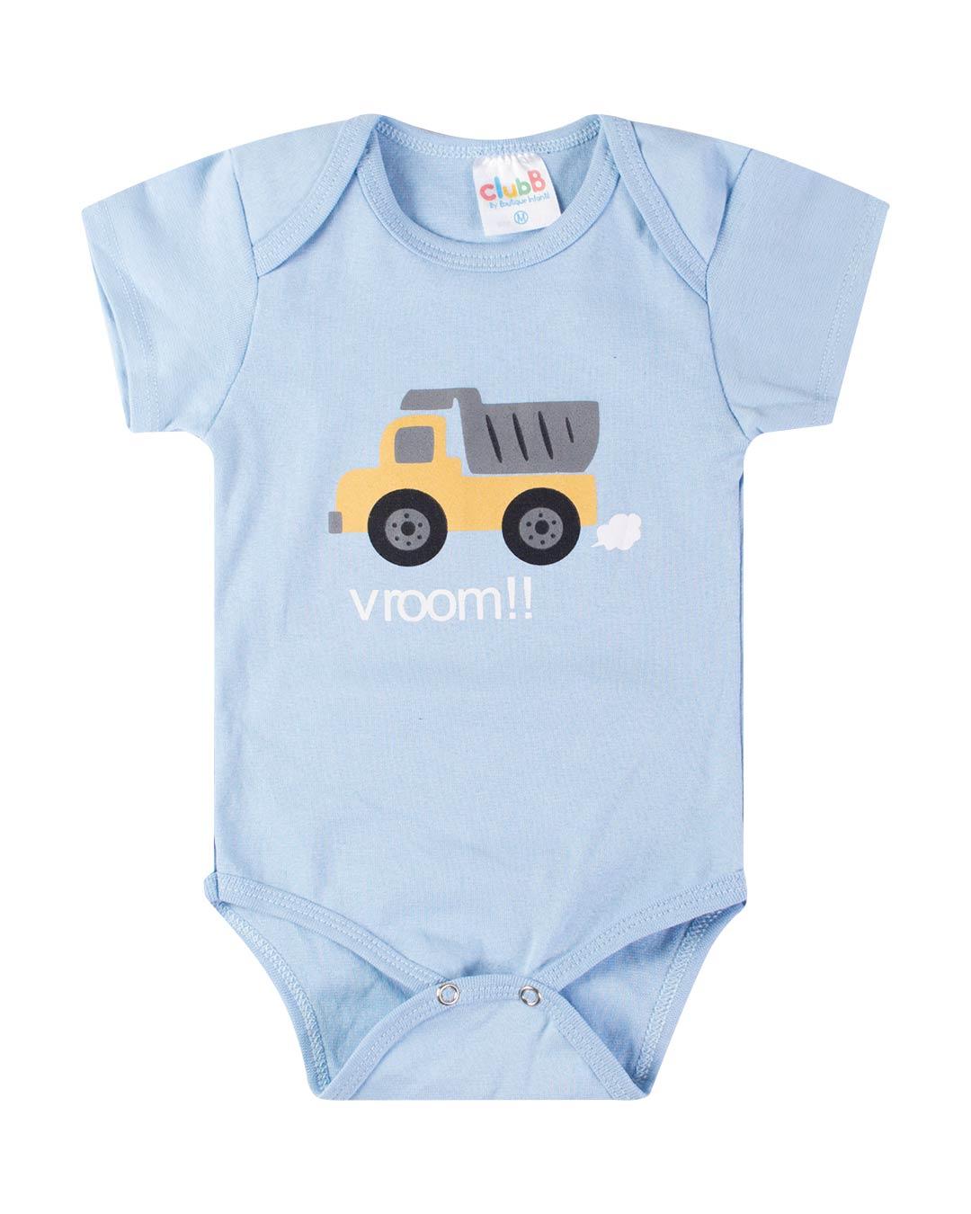 Kit Body 3 Peças com Bermuda Caminhãozinho Azul - Sorriso Kids