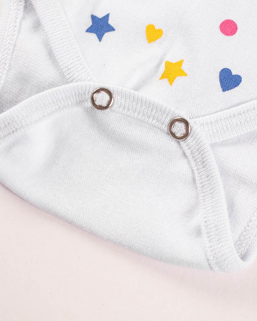 Kit Body 3 Peças com Bermuda Corações e Estrelas Branco - Sorriso Kids