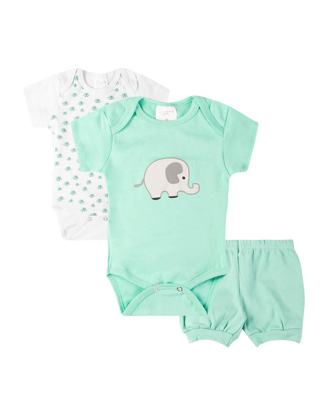 Kit Body 3 Peças com Bermuda Elefantinho Branca - Sorriso Kids