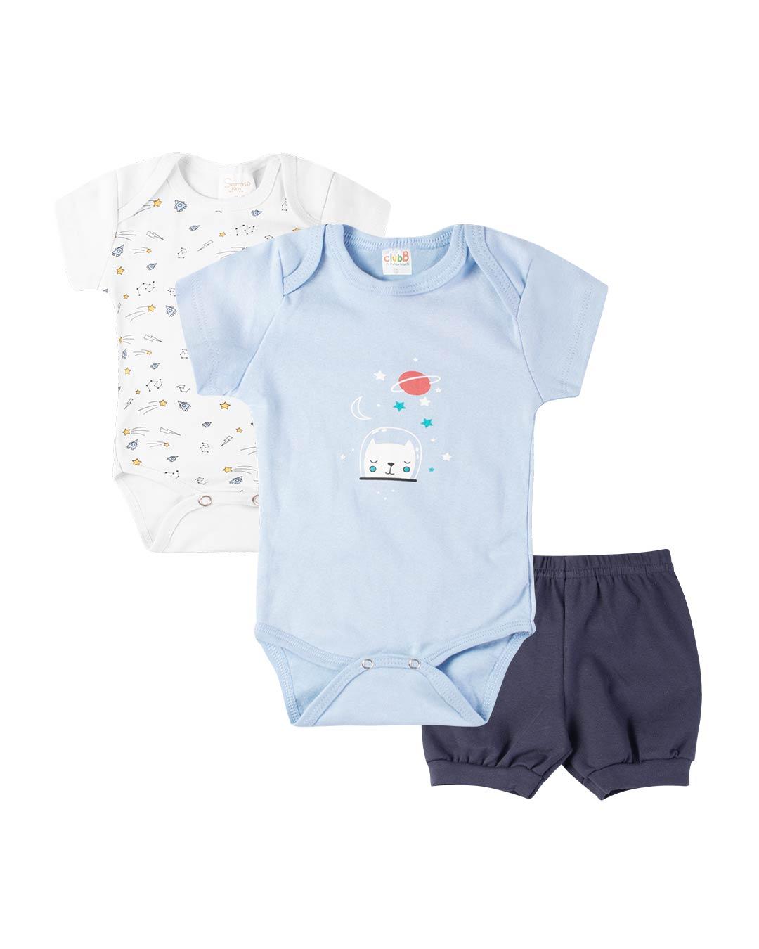 Kit Body 3 Peças com Bermuda Gatinho Astronauta Azul - Sorriso Kids