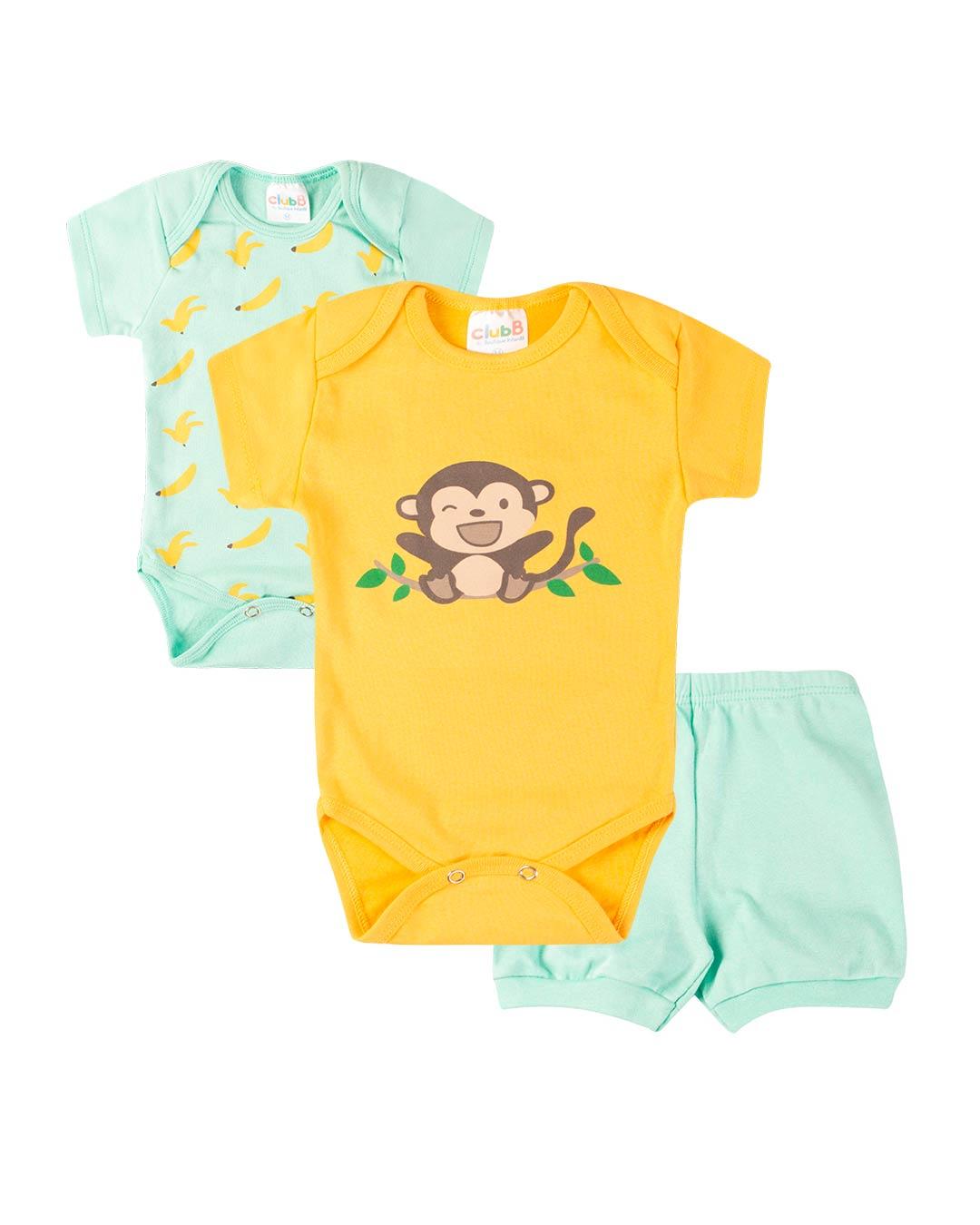 Kit Body 3 Peças com Bermuda Macaquinho Verde - Sorriso Kids