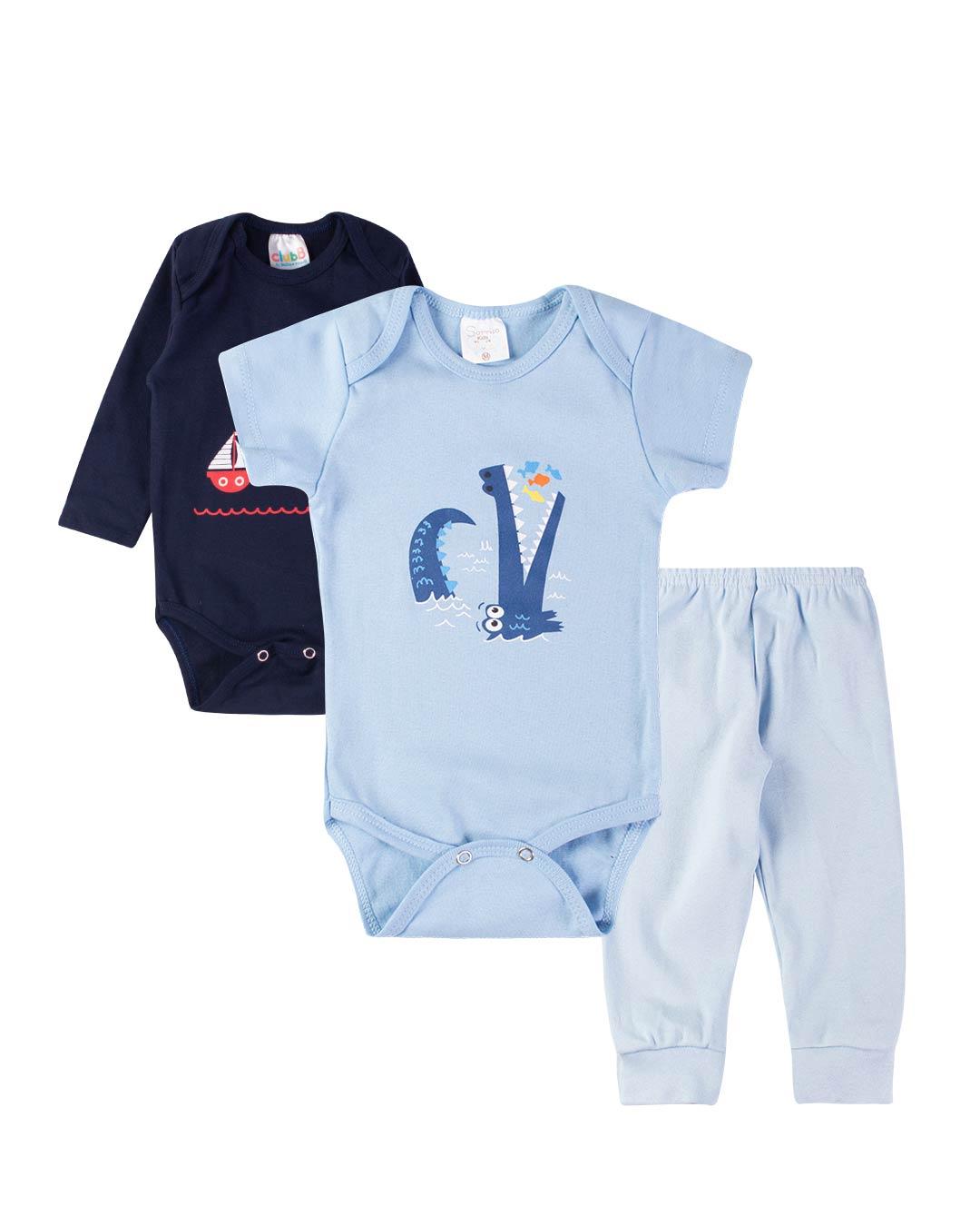 Kit Body 3 Peças com Calça Barquinho Azul Marinho - Club B