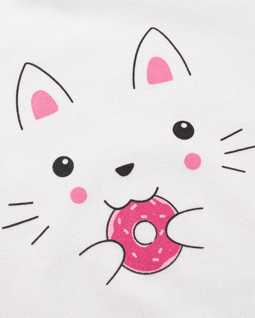 Kit Body 3 Peças Gatinha e Donuts Branco - Sorriso Kids