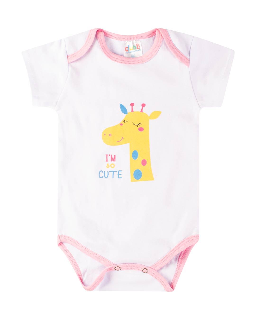 Kit Body 3 Peças Girafinha Branco - Sorriso Kids