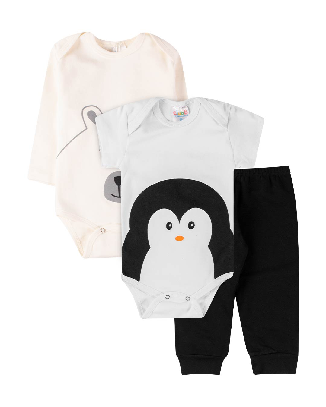 Kit Body 3 Peças Pinguim Off White - Sorriso Kids